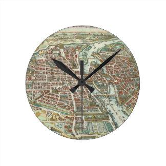 Vintage Pictorial Map of Paris (1615) Round Clock