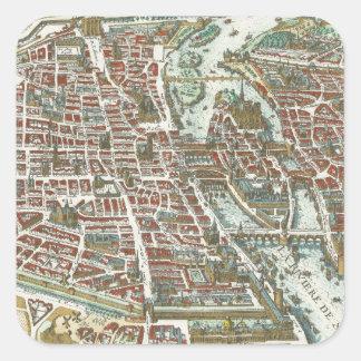 Vintage Pictorial Map of Paris (1615) Square Sticker