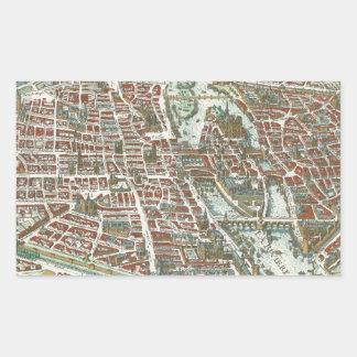 Vintage Pictorial Map of Paris (1615) Rectangular Sticker
