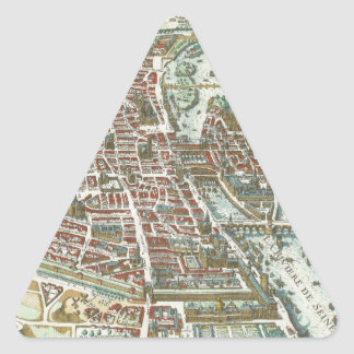 Vintage Pictorial Map of Paris (1615) Triangle Sticker