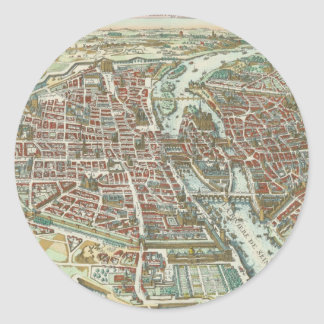 Vintage Pictorial Map of Paris (1615) Classic Round Sticker