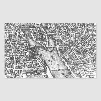 Vintage Pictorial Map of Paris (17th Century) Rectangular Sticker