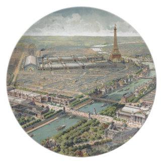 Vintage Pictorial Map of Paris (1900) Plate
