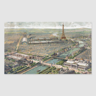 Vintage Pictorial Map of Paris (1900) Rectangular Sticker