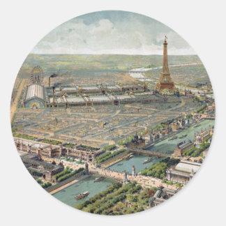 Vintage Pictorial Map of Paris (1900) Round Sticker