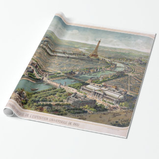 Vintage Pictorial Map of Paris (1900) Wrapping Paper