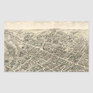 Vintage Pictorial Map of Peabody MA (1877) Rectangular Sticker