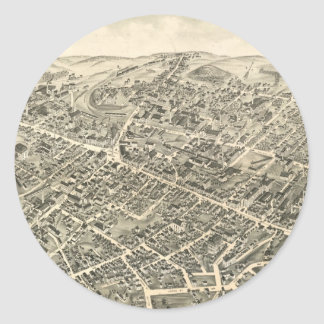 Vintage Pictorial Map of Peabody MA (1877) Round Sticker