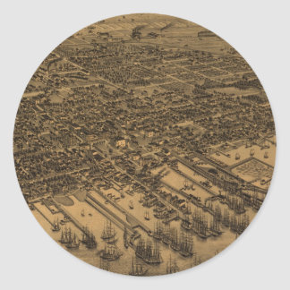 Vintage Pictorial Map of Pensacola (1885) Round Stickers