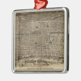 Vintage Pictorial Map of Philadelphia (1872) Christmas Ornament