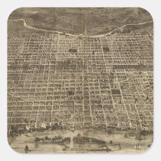 Vintage Pictorial Map of Philadelphia (1872) Square Sticker