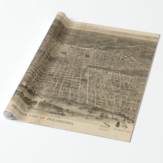 Vintage Pictorial Map of Philadelphia (1872) Wrapping Paper
