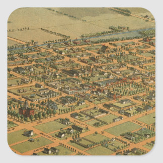 Vintage Pictorial Map of Phoenix Arizona (1885) Square Sticker