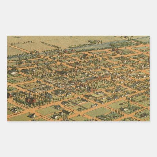 Vintage Pictorial Map of Phoenix Arizona (1885) Rectangular Stickers
