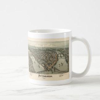 Vintage Pictorial Map of Pittsburgh (1902) Basic White Mug