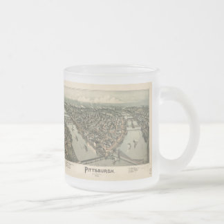 Vintage Pictorial Map of Pittsburgh (1902) Frosted Glass Mug