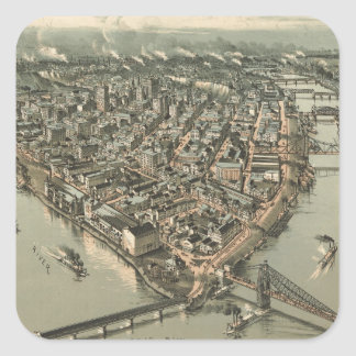 Vintage Pictorial Map of Pittsburgh (1902) Square Sticker