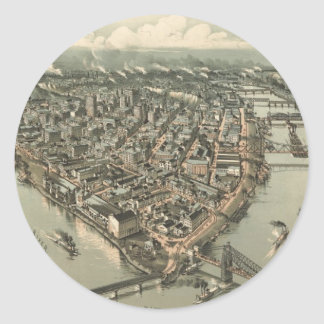 Vintage Pictorial Map of Pittsburgh (1902) Classic Round Sticker
