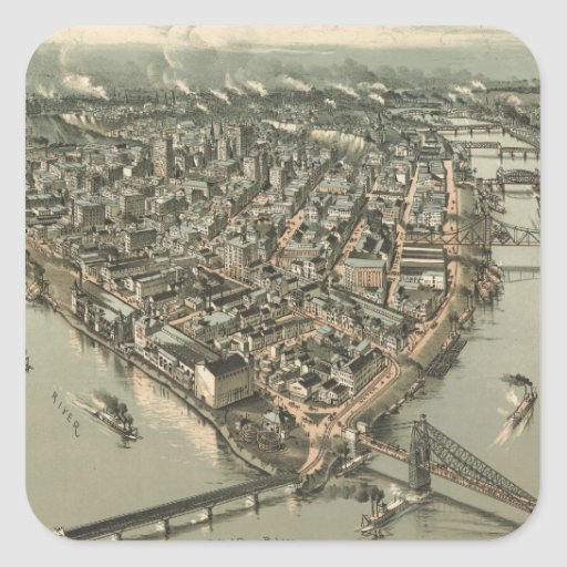 Vintage Pictorial Map of Pittsburgh (1902) Square Stickers