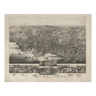 Vintage Pictorial Map of Plymouth MA (1882) Poster
