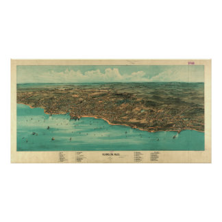 Vintage Pictorial Map of Plymouth MA (1910) Poster