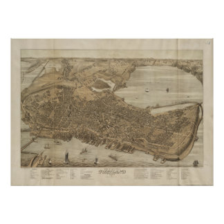Vintage Pictorial Map of Portland Maine (1876) Poster