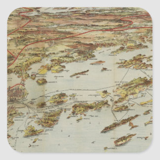 Vintage Pictorial Map of Portland Maine (1906) Square Sticker
