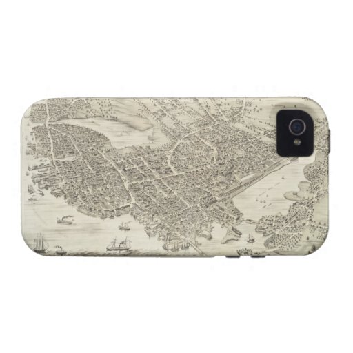 Vintage Pictorial Map of Portsmouth NH (1877) iPhone 4 Case