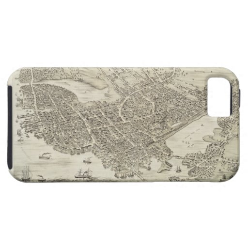 Vintage Pictorial Map of Portsmouth NH (1877) iPhone 5 Cover