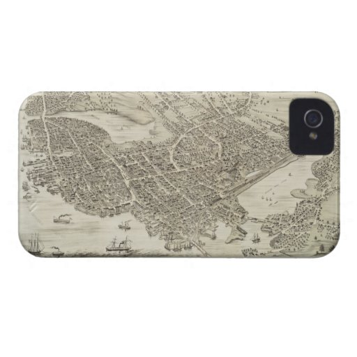 Vintage Pictorial Map of Portsmouth NH (1877) iPhone 4 Case-Mate Cases