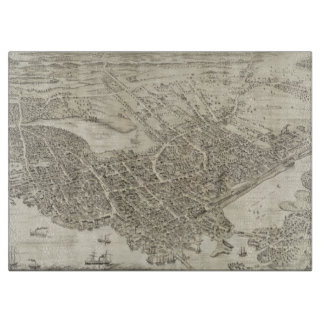 Vintage Pictorial Map of Portsmouth NH (1877) Cutting Board