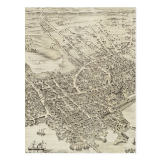 Vintage Pictorial Map of Portsmouth NH (1877) Postcard