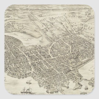 Vintage Pictorial Map of Portsmouth NH (1877) Square Sticker