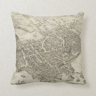 Vintage Pictorial Map of Portsmouth NH (1877) Throw Pillow