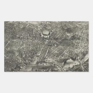 Vintage Pictorial Map of Providence RI (1882) Rectangular Sticker