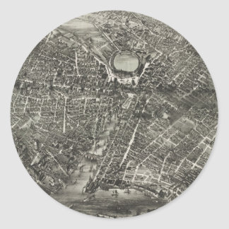 Vintage Pictorial Map of Providence RI (1882) Round Sticker