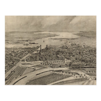Vintage Pictorial Map of Providence RI (1896) Postcard