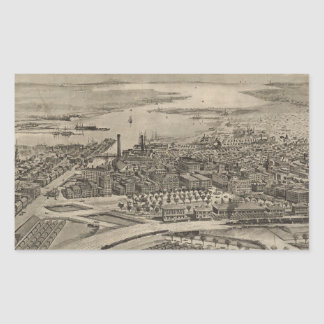 Vintage Pictorial Map of Providence RI (1896) Rectangular Sticker