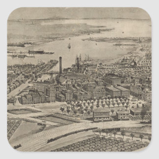 Vintage Pictorial Map of Providence RI (1896) Square Sticker