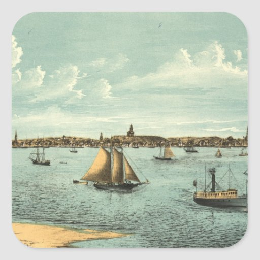 Vintage Pictorial Map of Provincetown (1887) Sticker