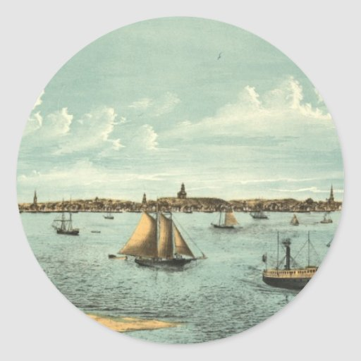Vintage Pictorial Map of Provincetown (1887) Stickers