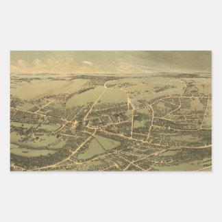 Vintage Pictorial Map of Quincy (1877) Rectangular Sticker