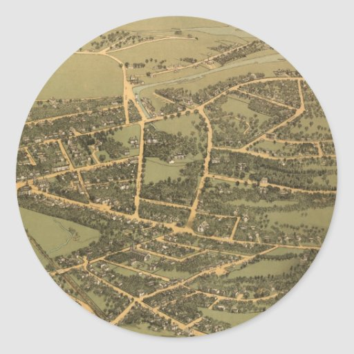 Vintage Pictorial Map of Quincy (1877) Round Stickers