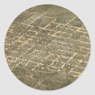 Vintage Pictorial Map of Raleigh NC (1872) Round Sticker