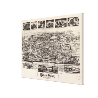 Vintage Pictorial Map of Rockaway NJ (1902) Canvas Print