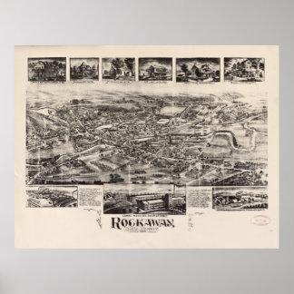 Vintage Pictorial Map of Rockaway NJ (1902) Poster