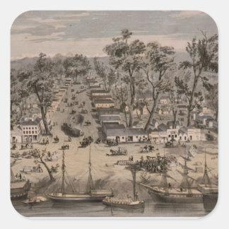 Vintage Pictorial Map of Sacramento (1850) Square Sticker