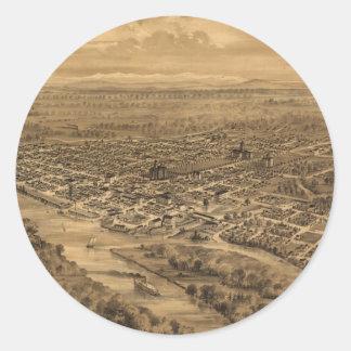 Vintage Pictorial Map of Salem Oregon (1876) Round Sticker