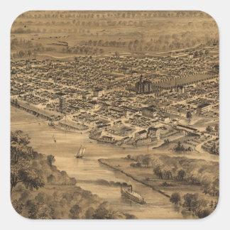 Vintage Pictorial Map of Salem Oregon (1876) Square Sticker