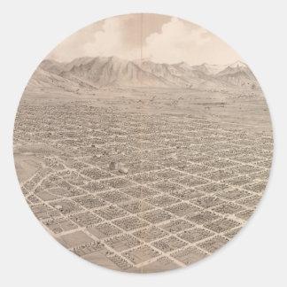 Vintage Pictorial Map of Salt Lake City (1875) Round Sticker